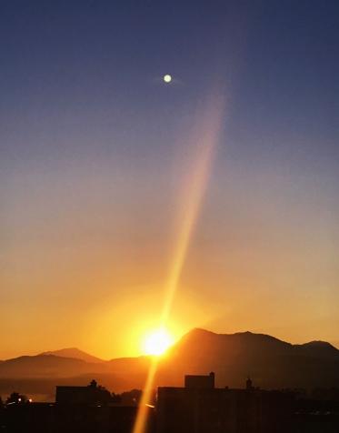 hazy spring beam sunrise